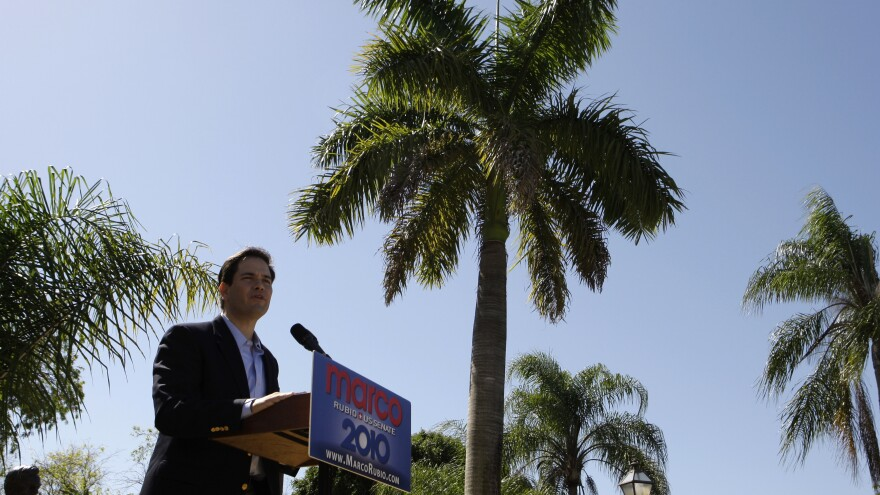 Marco Rubio speaks to supporters in West Miami in 2010 before declaring his candidacy in the U.S. Senate.