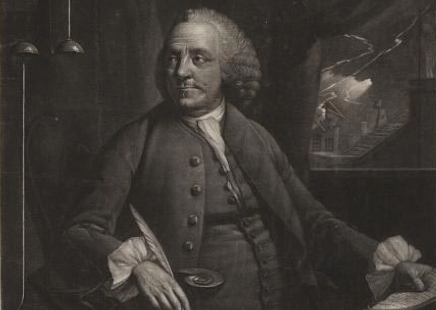 A mezzotint of Benjamin Franklin from the In His Own Words exhibition at the Library of Congress