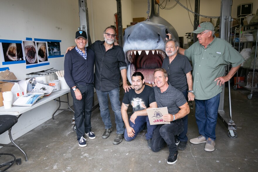 Jeffrey Kramer, Greg Nicotero, Bruce the Shark, Roger Baena, author Dennis Prince, Joe Alves and Roy Arbogast.