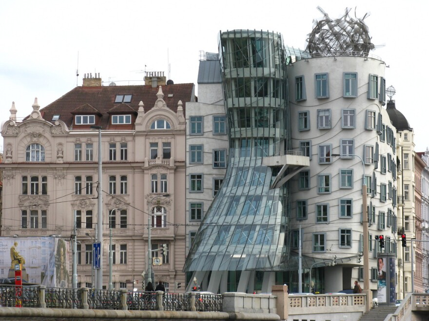 "Gehry's ""Dancing House"" (also known as ""Fred and Ginger"") in Prague."