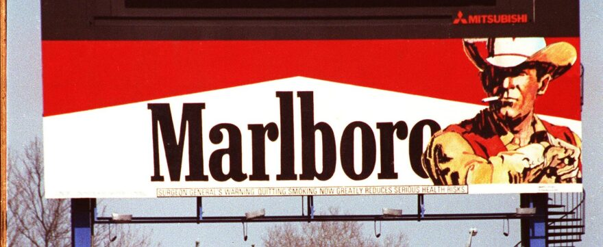 """The """"Marlboro Man"""" on a billboard in Shea Stadium's center field in the 1990s. (Kevin Coughlin/AP)"""