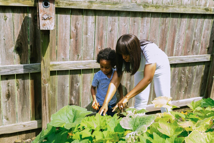 Maryam Jernigan-Noesi and her son Carter pick vegetables from their garden.