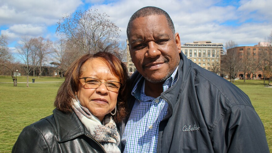 Roberta Vincent with her son, Robert Howard II,<strong> </strong>at their StoryCorps interview in Hartford, Conn.