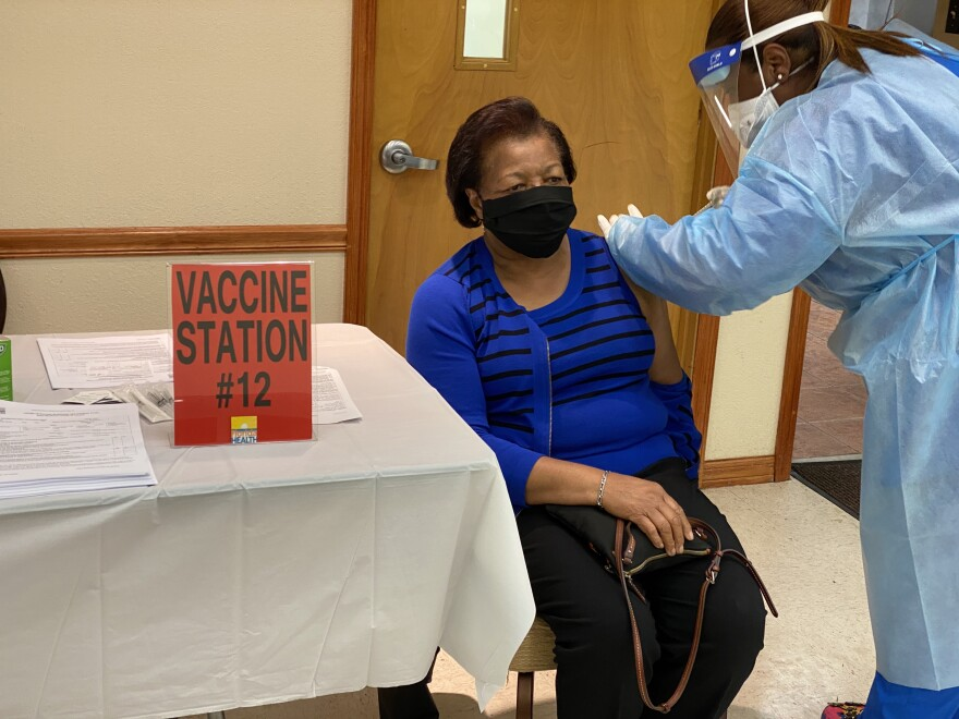 Coronavirus vaccines are administered at the St. John's Progressive Missionary Baptist Church in Tampa on Jan. 10, 2021.