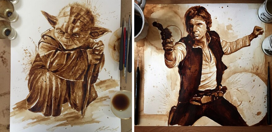 (Left) Yoda; (Right) Hans Solo, by Maria Aristidou