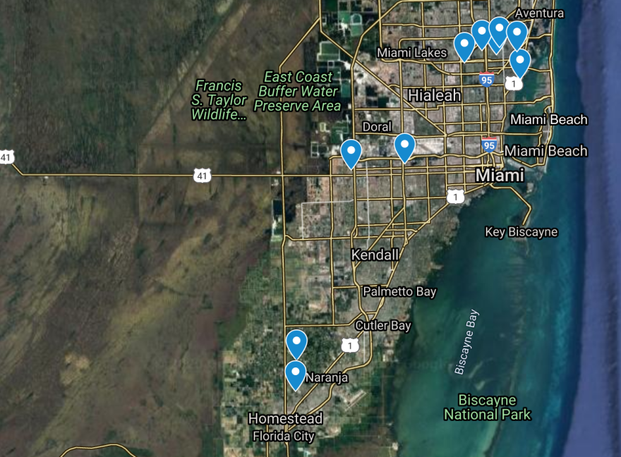 Map of proposed property buyouts in Miami-Dade County