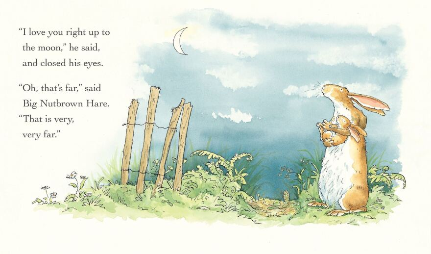 Guess How Much I Love You™  © 2015 Sam McBratney and Anita Jeram. Guess How Much I Love You™ is a registered trademark of Walker Books Ltd, London. Reproduced by permission of the publisher, Candlewick Press, Somerville, MA on behalf of Walker Books, London.