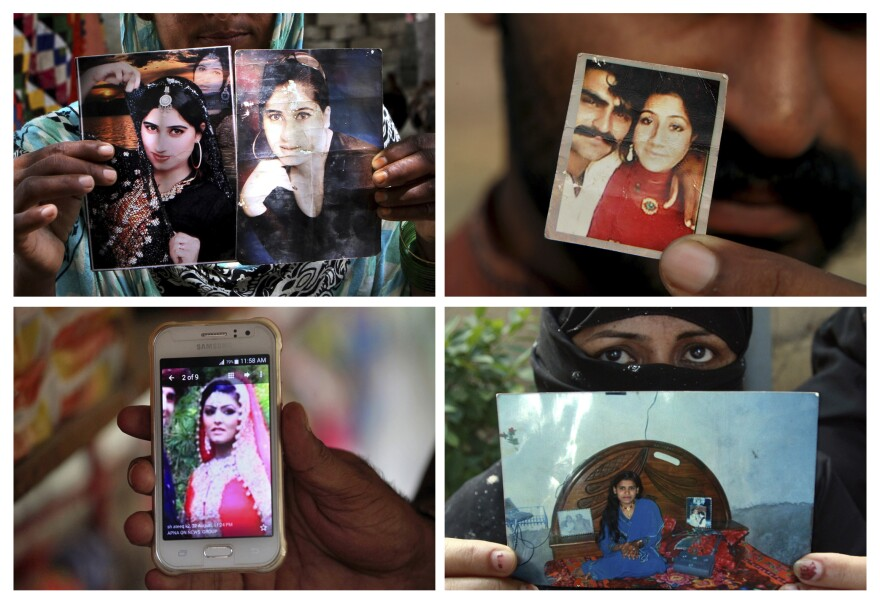 "Four victims of ""honor"" crimes in Pakistan: Qandeel Baloch, (top left); Muqadas Tofeeq (top right); Samia Shahid (bottom left); and Tasleem Solangi."