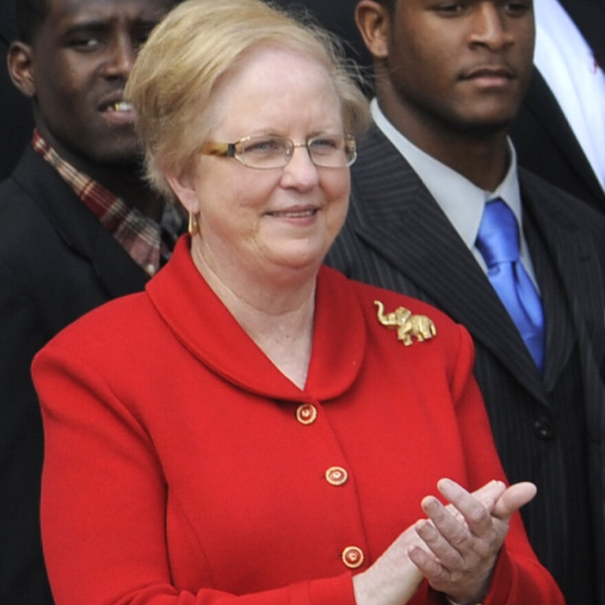 Judy Bonner, the University of Alabama's new president, when the school's championship football team visted the White House in April.