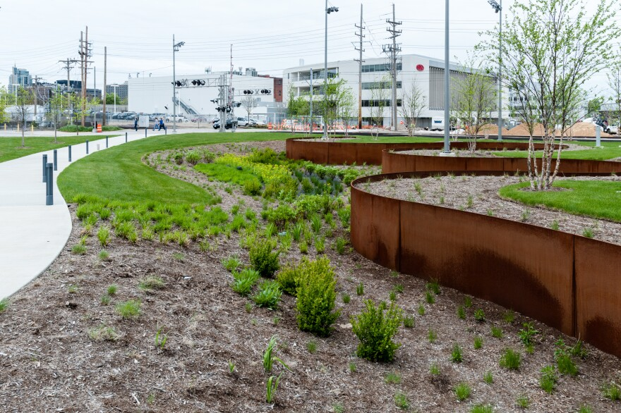 The MSD's rainscaping project at the Cortext Innovation District.