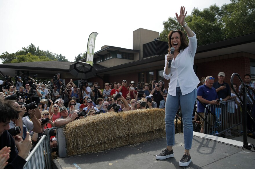 Democratic presidential candidate Sen. Kamala Harris, D-Calif., speaks at the Iowa State Fair in Des Moines, Iowa.
