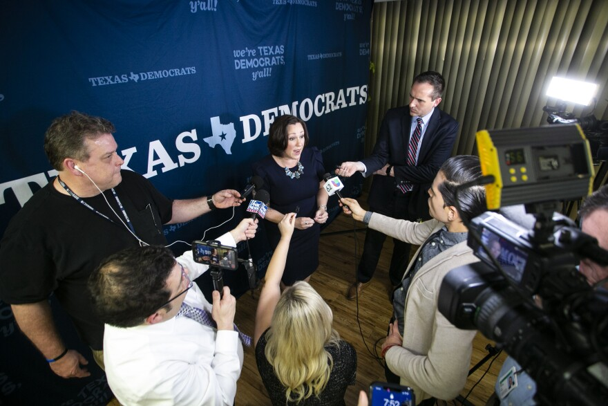 M.J. Hegar, candidate for U.S. Senate, speaks at Democratic Party Headquarters in Austin on election night.