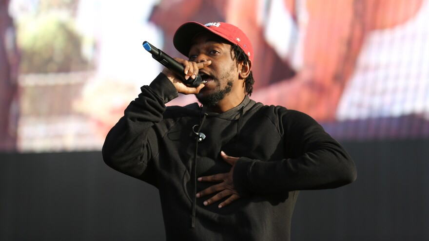 Kendrick Lamar on stage in July. His album <em>To Pimp A Butterfly</em> is nominated for the Album of the Year Grammy.