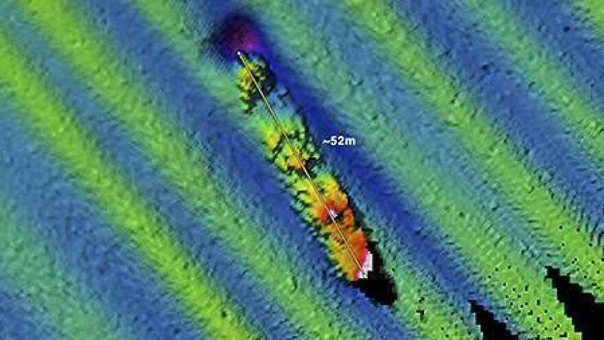 A NOAA/Fugro multibeam sonar survey image of the wreckage helped locate the Conestoga.