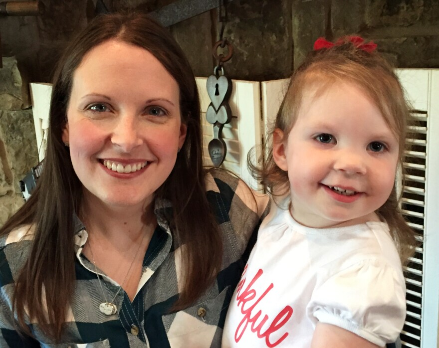 """Intensive home-visits by physical, occupational and speech therapists have been """"a lifesaver,"""" for little Haylee Crouse, her mom Amanda (left) told Shots. Haylee, who is now 2, developed seizures and physical and intellectual disabilities after contracting meningitis when she was 8 days old."""