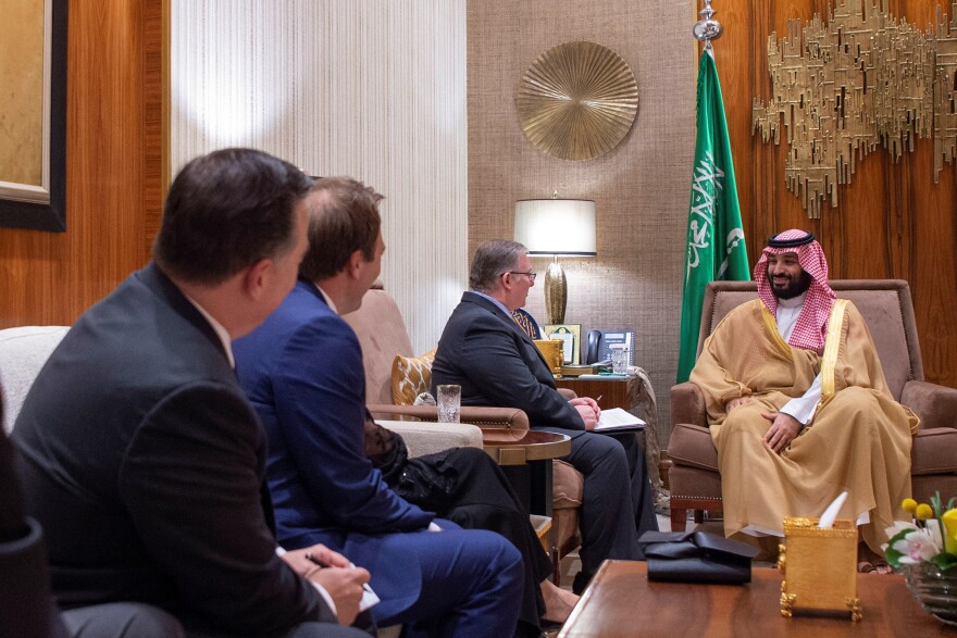 Saudi Crown Prince Mohammed bin Salman meets with a delegation of U.S. evangelical Christian leaders in Riyadh, Saudi Arabia, in November.