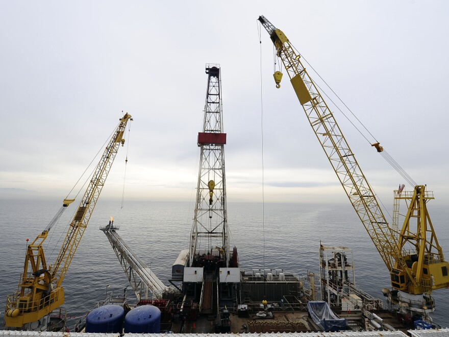 The offshore oil drilling platform 'Gail,' operated by Venoco, Inc., is shown off the coast of Santa Barbara, Calif. in 2009.  A Trump administration plan to greatly expand offshore drilling is on hold after a setback in court.