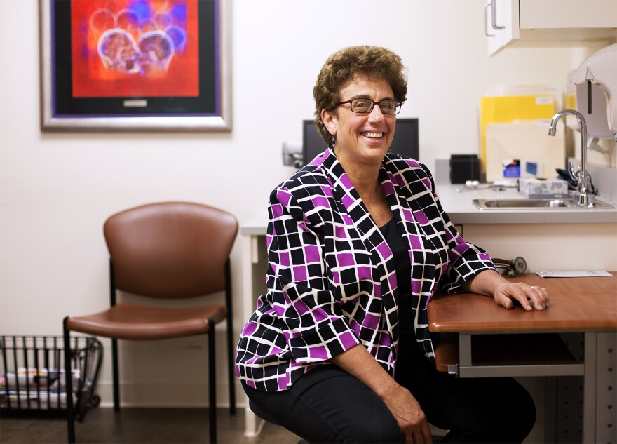 Dr. Barbara Green poses for a portrait in her exam room at the MS Center of St. Louis.