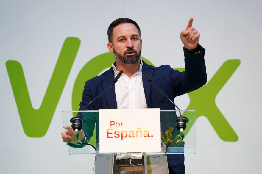 Candidate for the Spanish far-right party Vox, Santiago Abascal, gives a speech during a campaign rally in Burgos, northern Spain, on April 14.