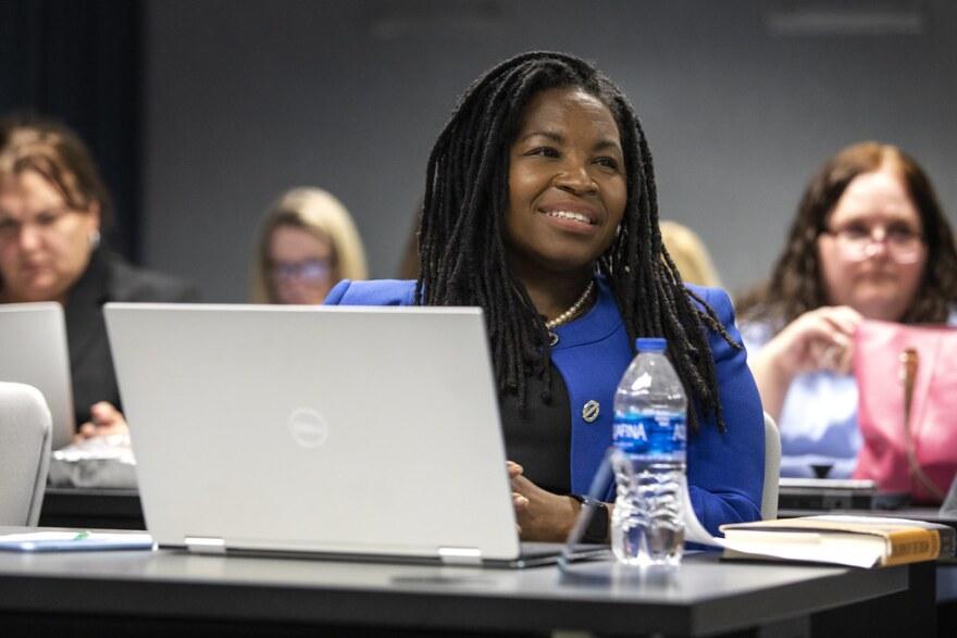 Austin ISD Chief Equity Officer Stephanie Hawley at an AISD School Board meeting on Aug. 26, 2019.