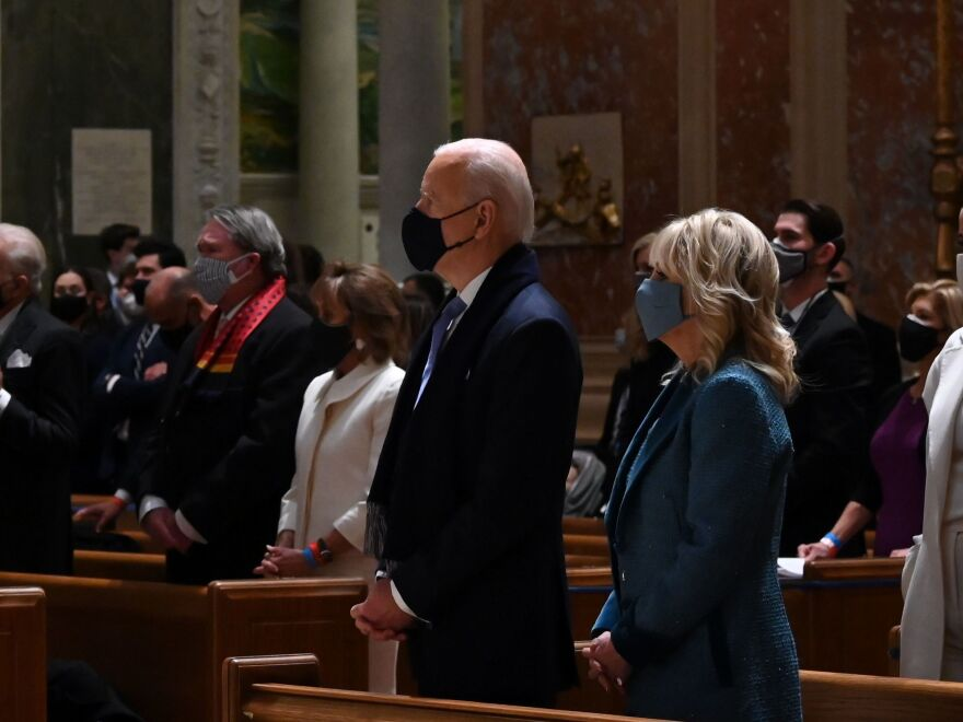 President Biden and first lady Jill Biden attended Mass at the Cathedral of St. Matthew the Apostle in Washington, D.C., on Wednesday morning before the inauguration.