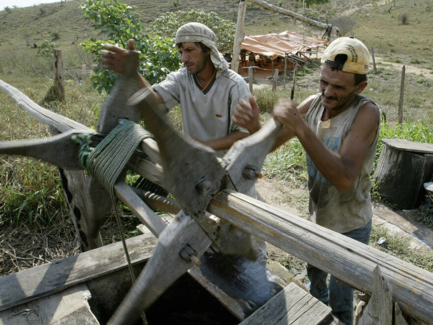 Brazilian slave laborers Valdeci Alves Ciqueira de Oliveira and Francisco Sagivana Soares de Lima draw water from a well on an Amazon basin farm where they had been illegally exploited for six months in 2003.