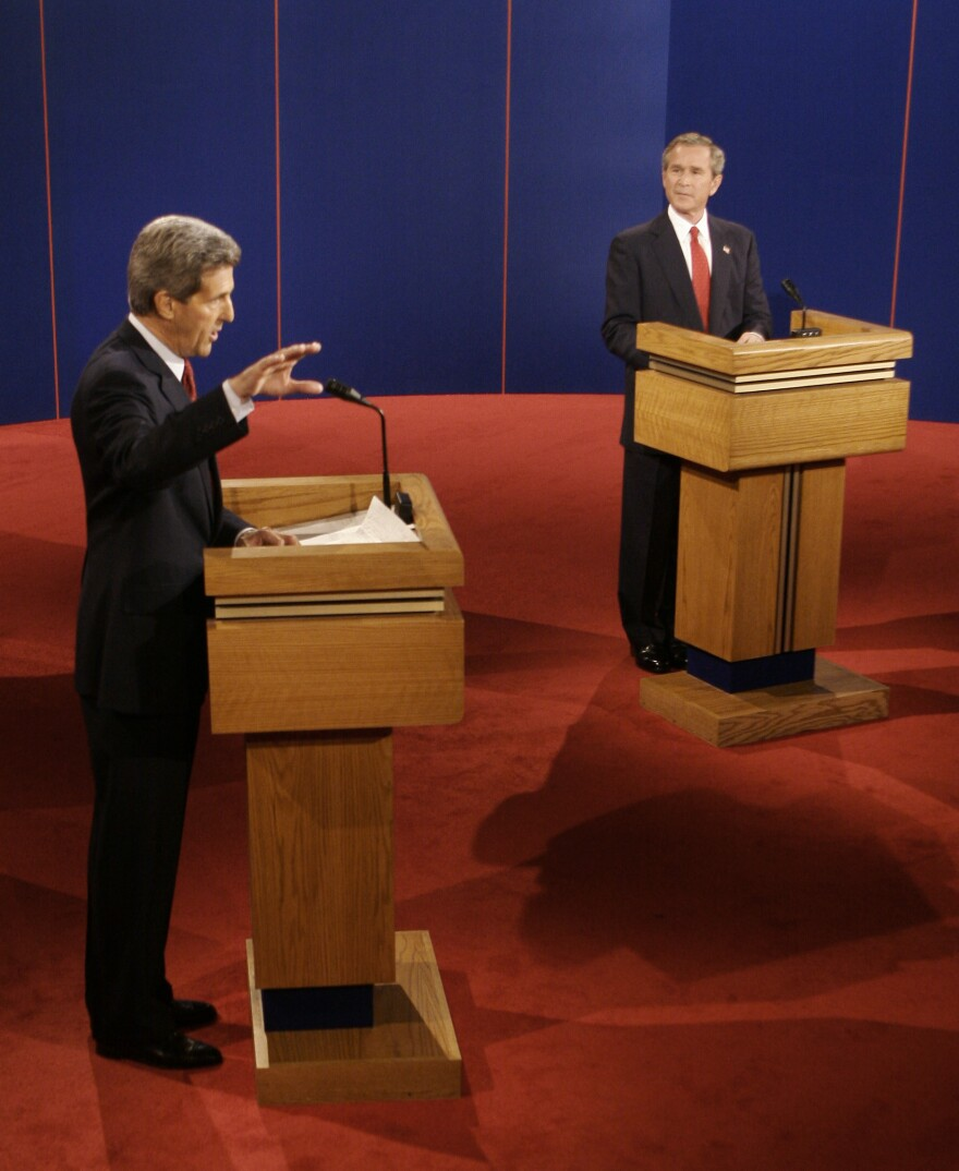 Democratic presidential candidate Sen. John Kerry debates President George W. Bush on Oct. 13, 2004. Bush later won re-election.