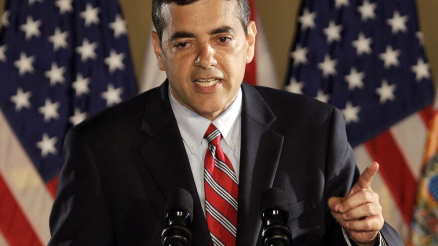Rep. David Rivera, R-Fla., speaks in Coral Gables in November 2010. Rivera is under investigation by state and federal authorities for allegedly misusing campaign funds.