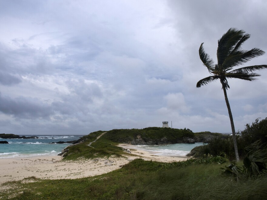 Wind and surf picks up as Hurricane Nicole approaches the Cooper's Island Nature Reserve in St. Georges, Bermuda, on Wednesday.