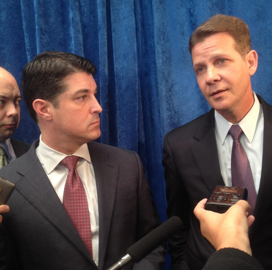 Florida House Speaker Steve Crisafulli and Senate President Andy Gardiner speaking to reporters in Tallahassee.