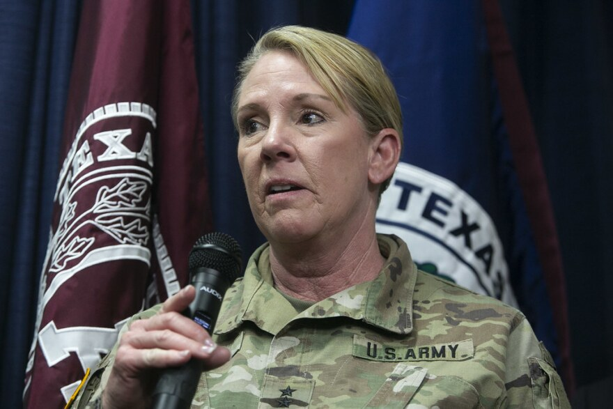 Major General Tracy Norris, with the National Guard, speaks to the media during a news conference on coronavirus last month.