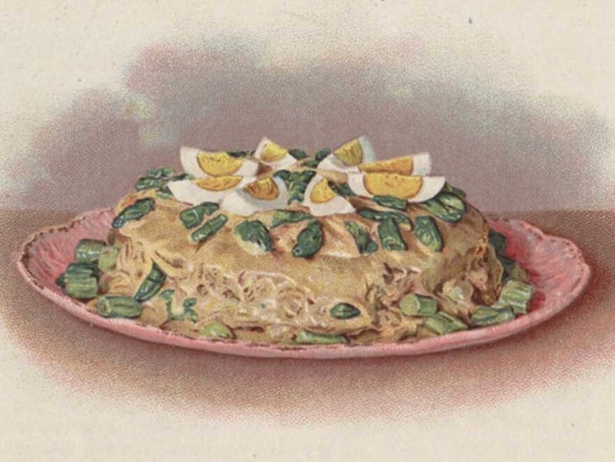 """Asparagus Shortcake,"" a leftover creation from <em>The Cook's Book</em> published in 1908."