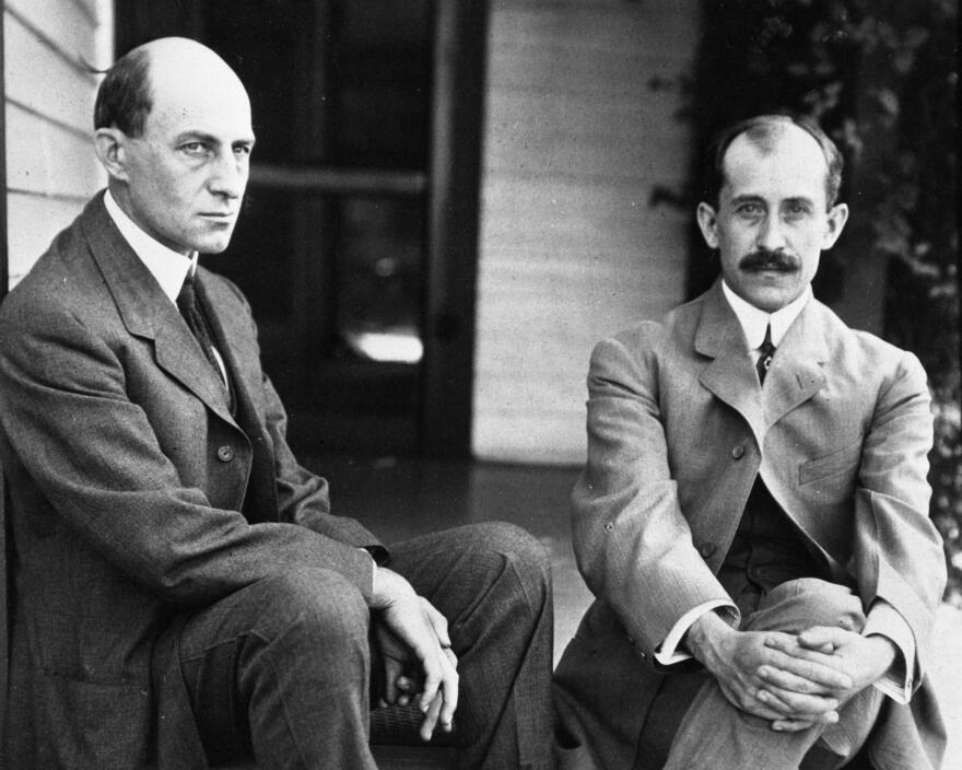 The Wright brothers on the steps of 7 Hawthorn St. in Dayton
