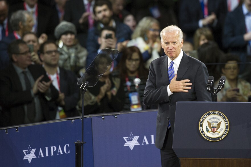 FILE - In this Sunday, March 20, 2016 file photo, Vice President Joe Biden places his hand over his heart after addressing the American Israel Public Affairs Committee (AIPAC) Policy Conference in Washington. Jewish American voters have leaned Democratic for decades, but the GOP is still eyeing modest gains with the constituency in states where President Donald Trump could reap major benefits with even small improvements over his performance in 2016.
