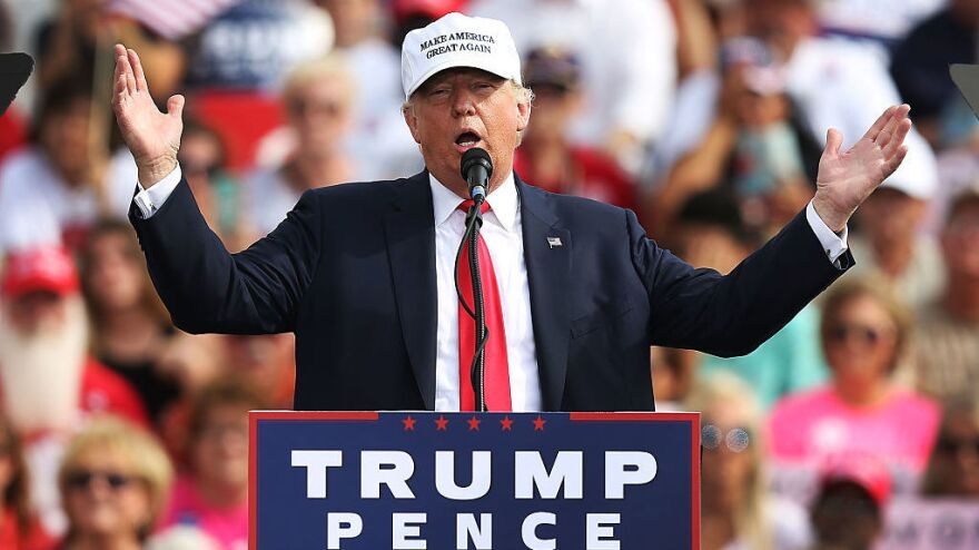 Republican presidential candidate Donald Trump speaks during a campaign rally Wednesday in Lakeland, Fla.