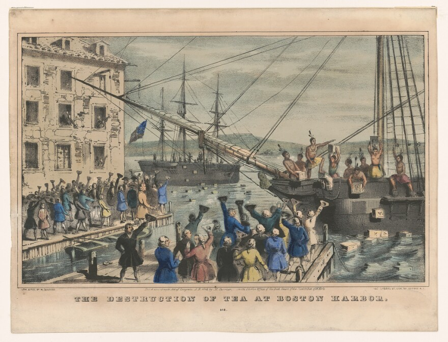 A print showing the destruction of tea at Boston Harbor in 1773.