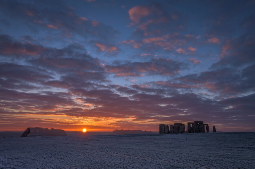 Stonehenge at dawn, December 2014, in Wiltshire, England.