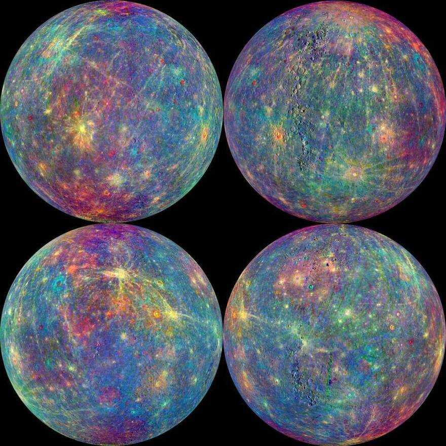 These images of Mercury were taken onboard the MESSENGER spacecraft, the first ever to orbit the innermost planet.
