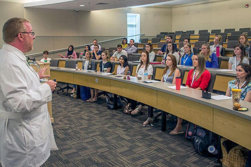 USF Health PA Program Director, Dr. Todd Wills, addresses the first class of 30 students at their orientation at the USF College of Nursing.
