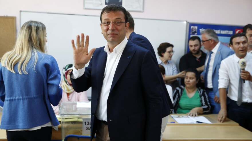 Ekrem Imamoglu, a mayoral candidate of the secular opposition Republican People's Party, at a polling station in Istanbul on Sunday. He won the election in March, and won again on Sunday in a new election.