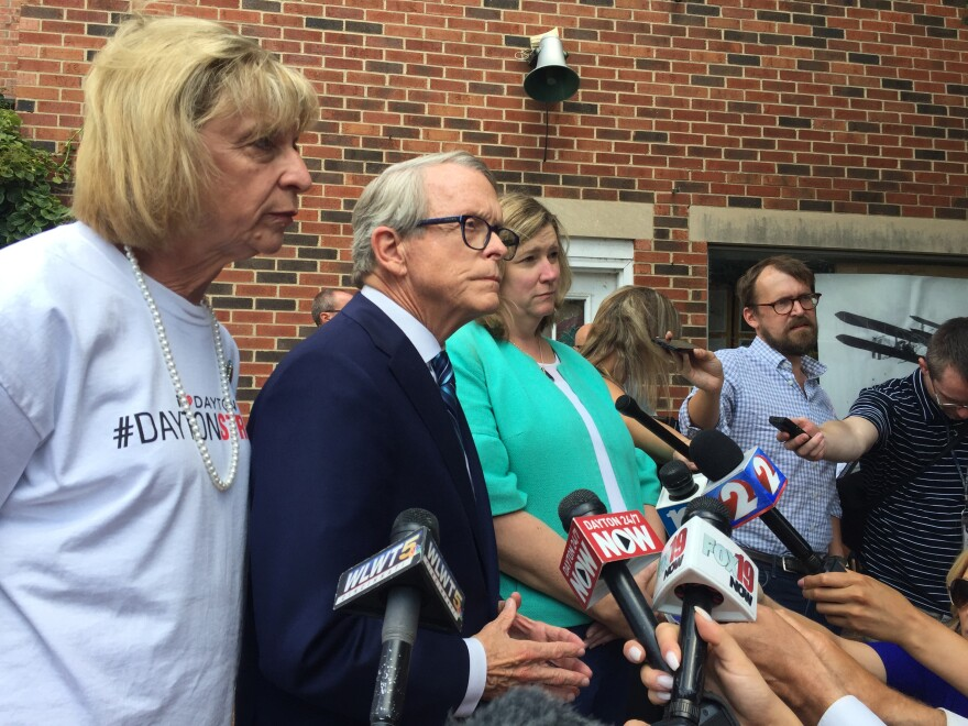 Gov. Mike DeWine met in Dayton's Oregon District with Mayor Nan Whaley to discuss next steps on gun control.