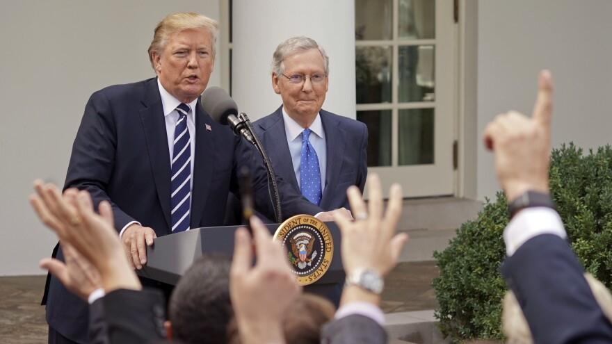 President Trump and Senate Majority Leader Mitch McConnell of Kentucky tried to tamp down rumors of a rift between them last week in a Rose Garden press conference at the White House.
