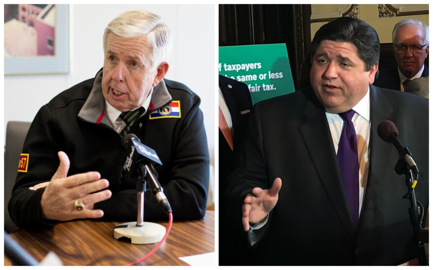Missouri Governor Mike Parson (left) and Illinois Governor J.B. Pritzker have taken different steps to prepare for the coronoavirus in their states.