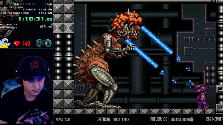 Chris Tomkinson — known online as ShinyZeni — streaming a speedrun of <em>Super Metroid</em>.