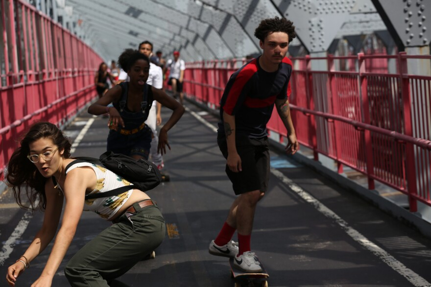 In <em>Skate Kitchen</em>, the introverted Camille (played by Rachelle Vinberg, left) finds her tribe of skaters in New York City.