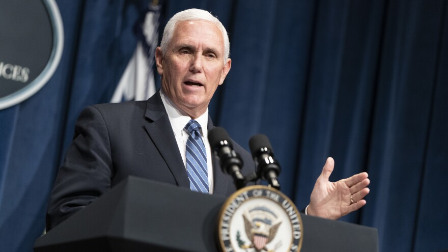 Vice President Pence holds a White House Coronavirus Task Force briefing Friday at the Department of Health and Human Services.