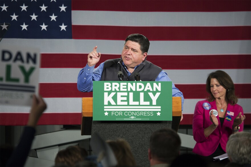 Illinois gubernatorial candidate JB Pritzker speaks in support of congressional candidate Brendan Kelly.