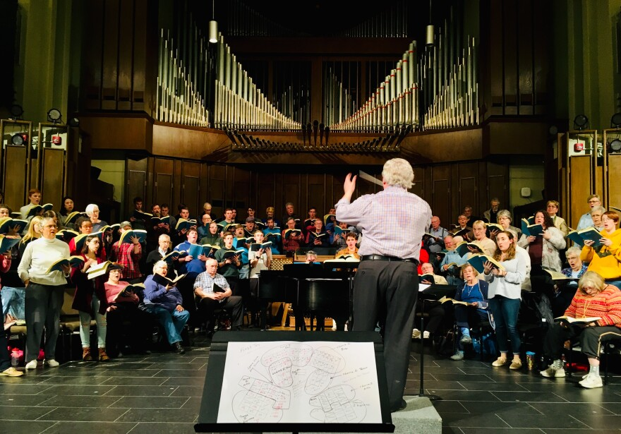 Music Director John Neely leads the Bach Society and the University of Dayton Chorale in their rehearsal for St. Matthew Passion, which retells the story of Jesus' capture, trial, and crucifixion from the Book of Matthew.