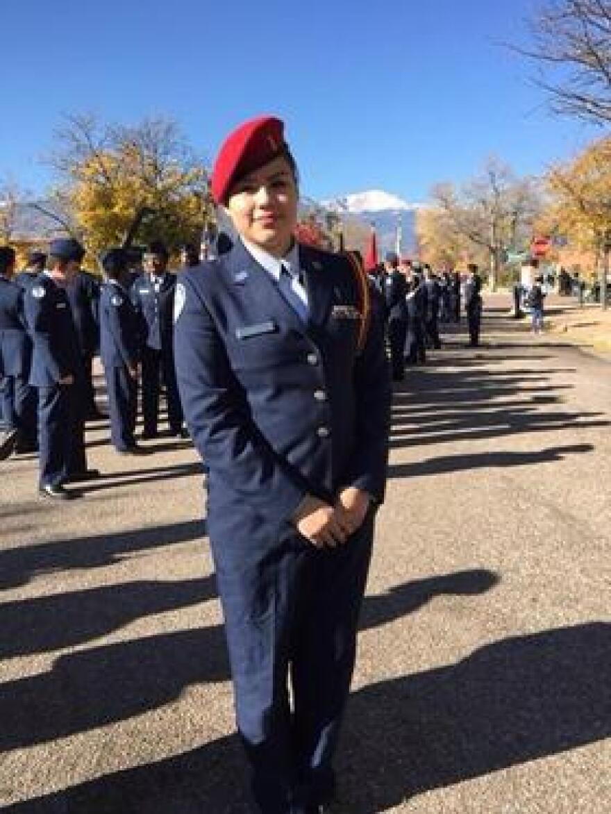 Monica Perez in her junior ROTC uniform a few years ago, when she was a student at Harrison High School in Colorado Springs.