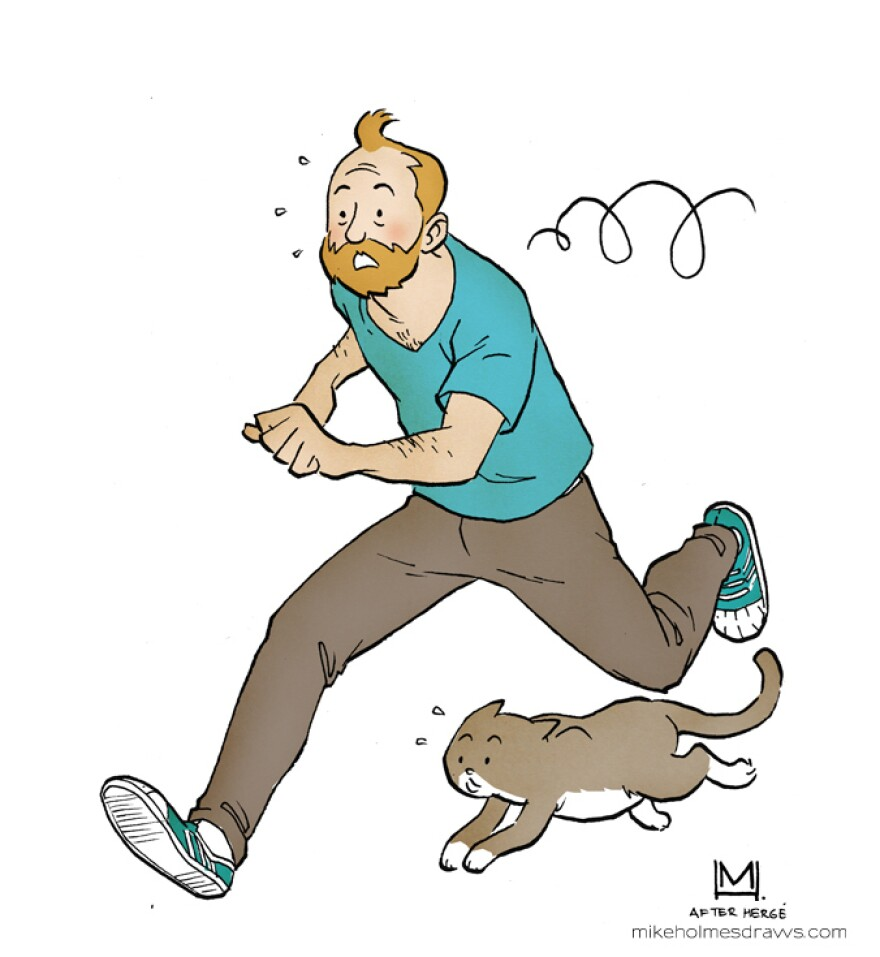 Mike Holmes and Ella drawn in the style of Tintin.
